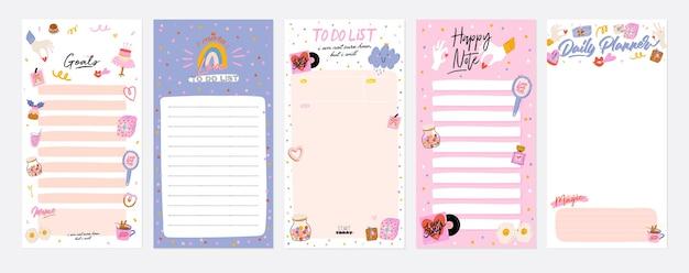 Sammlung von wochen- oder tagesplanern, notizpapier, aufgabenliste, aufklebervorlagen dekoriert