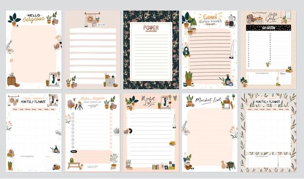 Sammlung von wochen- oder tagesplanern, notizpapier, aufgabenliste, aufklebervorlagen, die mit illustrationen für wohnkultur und inspirierendem zitat verziert sind. schulleiter und organisator. eben