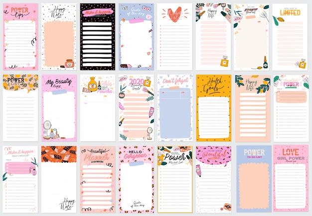 Sammlung von wochen- oder tagesplanern, notizpapier, aufgabenliste, aufklebervorlagen, die mit niedlichen schönheitskosmetikillustrationen und trendigen schriftzügen verziert sind.