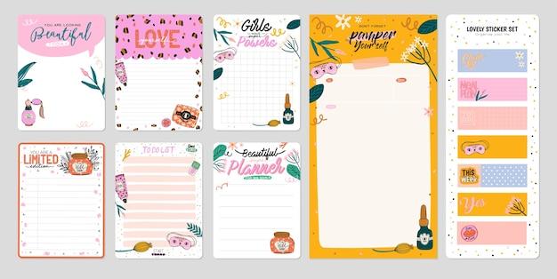 Sammlung von wochen- oder tagesplanern, notizpapier, aufgabenliste, aufklebervorlagen, die von niedlich verziert werden