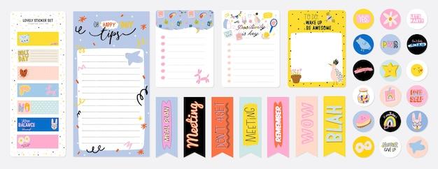Sammlung von wochen- oder tagesplanern, notizpapier, aufgabenliste, aufklebervorlagen, die von niedlichen kinderillustrationen und inspirierendem zitat verziert werden. schulleiter und organisator. eben