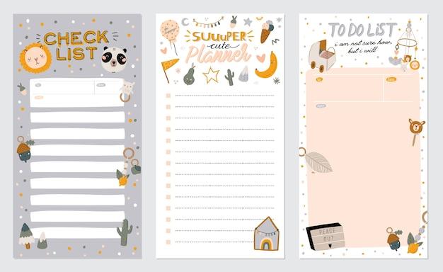 Sammlung von wochen- oder tagesplanern, notizpapier, aufgabenliste, aufklebervorlagen, die von niedlichen kinderillustrationen und inspirierendem zitat verziert werden. schulleiter und organisator.