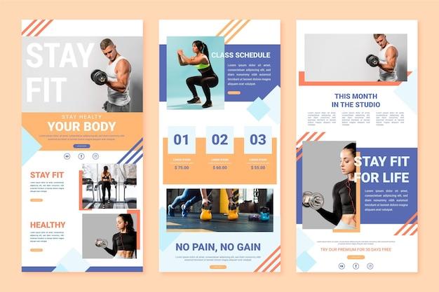 Sammlung von workout-e-mail-vorlage