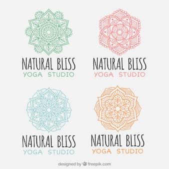 Sammlung von yoga logos mit mandalas