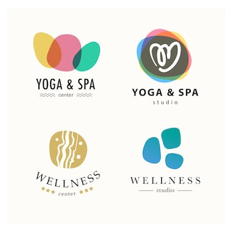 Sammlung von yoga, schönheit und spa-symbolen in hellen farben isoliert.