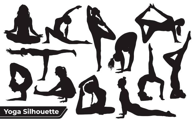 Sammlung von yoga-silhouetten in verschiedenen posen