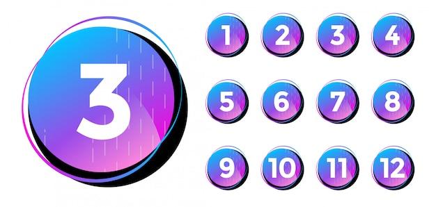 Sammlung von zahlen von 1 bis 10. symbole mit verlaufsfarben.