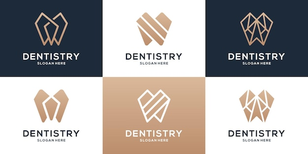 Sammlung von zahnärztlichen logo-vorlagen. logo-set.