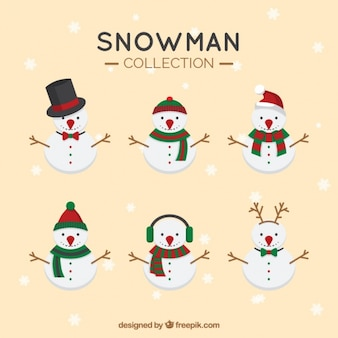 Sammlung von zeichen snowmen mit zubehör