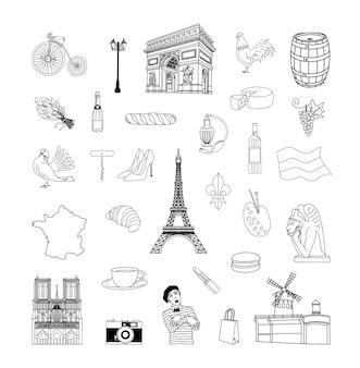 Sammlung von zeichnungen von frankreich