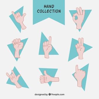 Sammlung von zeichnungen von händen