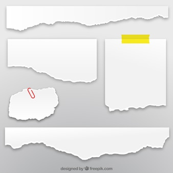 Sammlung von zerrissenen papierbögen