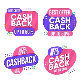 Sammlung von zweifarbigen cashback-etiketten