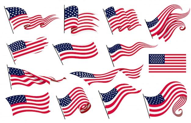 Sammlung wehende flaggen der vereinigten staaten von amerika. illustration von gewellten amerikanischen flaggen. nationales symbol, amerikanische flaggen auf weißem hintergrund - illustration