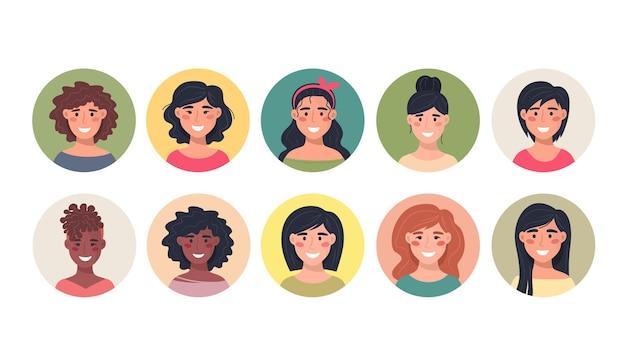 Sammlung weiblicher avatare in einer runden ikone