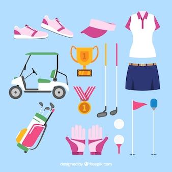 Sammlung weiblicher golfelemente