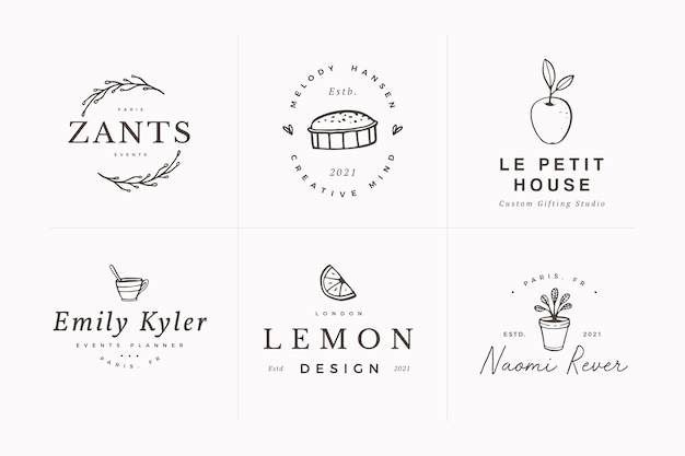 Sammlung weiblicher handgezeichneter botanischer logo-entwurfsschablonen