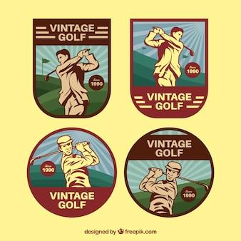 Sammlung weinlese golfaufkleber