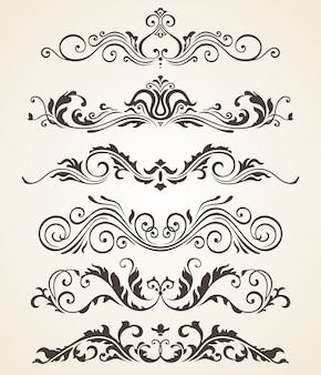 Sammlung weinleseart blüht elemente für design. vektor festgelegt