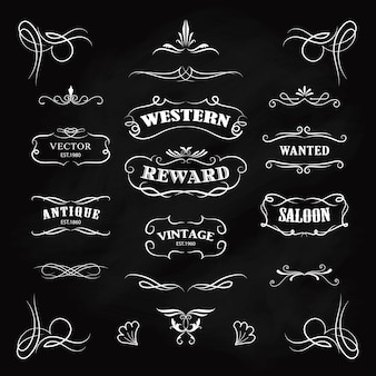 Sammlung westlicher grenzen und logos im viktorianischen stil