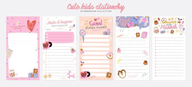 Sammlung wochen- oder tagesplaner, notizpapier, aufgabenliste, aufklebervorlagen, die von niedlicher liebe verziert werden