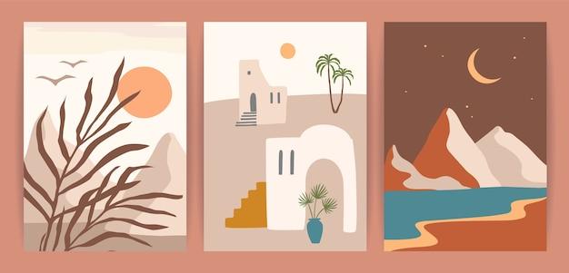 Sammlung zeitgenössischer kunstdrucke mit südlicher landschaft. mittelmeer, nordafrika.