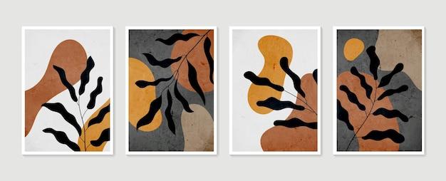 Sammlung zeitgenössischer kunstplakate in pastellfarbenillustration