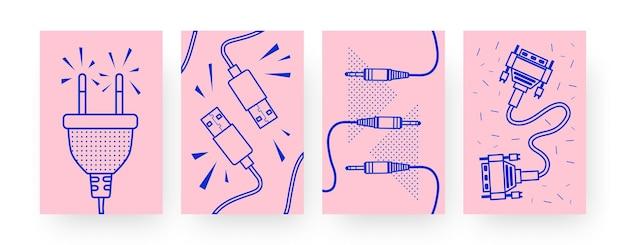 Sammlung zeitgenössischer poster mit verschiedenen kabeln. stecker, usb-kabel illustrationen im kreativen stil. technologie, stromkonzept für designs, social media,