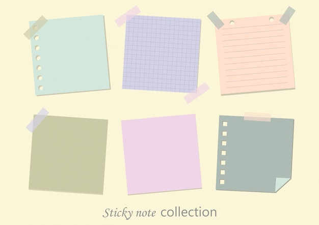 Sammlungen von leeren haftnotizen.