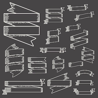 Sammlungs-satz des band-fahnen-aufkleber-vektors