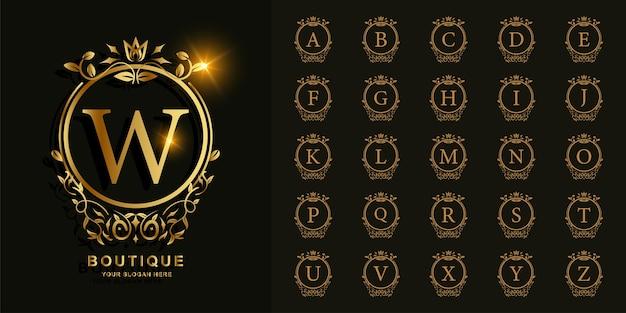 Sammlungsanfangsalphabet mit goldener logoschablone des luxusornaments oder des blumenkreisrahmens.