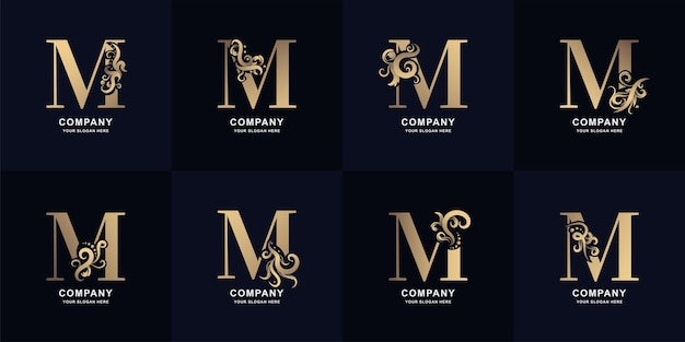Sammlungsbuchstabe m-logo mit luxuriösem ornament-design