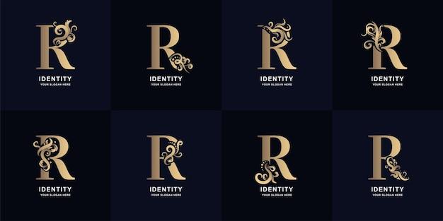 Sammlungsbuchstabe r-logo mit luxuriösem ornament-design