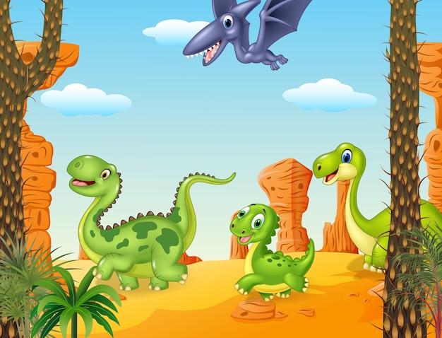 Sammlungsdinosauriercharakter im prähistorischen hintergrund