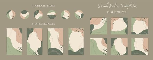 Sammlungshand gezeichneter satz von abstrakten organischen form-social-media-postgeschichten und hervorhebungssymbolschablone