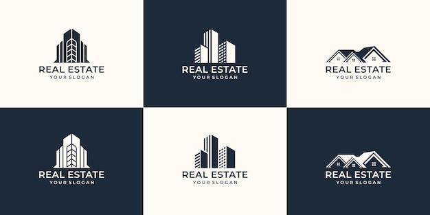 Sammlungsimmobilienlogoschablone. kreatives logo für immobilien, baumeister, bau, baumeister.