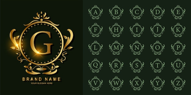 Sammlungsinitiales alphabet mit goldener logoschablone der luxusverzierung oder des blumenrahmens.