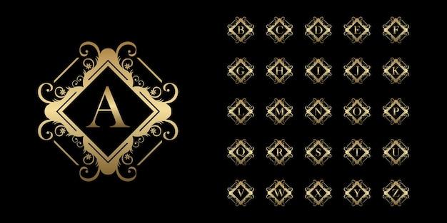 Sammlungsinitiales alphabet mit goldener logoschablone des luxusornamentblumenrahmens.