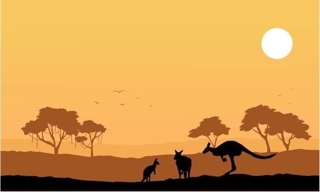 Sammlungskänguru auf der hügellandschaft