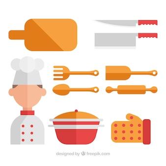 Sammlungskoch mit küchenutensilien in flachem design