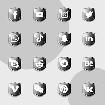 Sammlungspaket für social-media-symbole mit schwarzem schild
