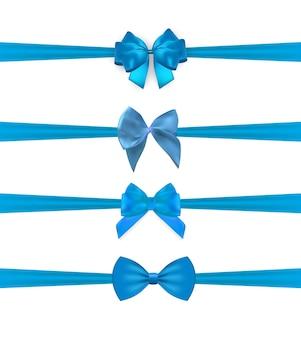 Sammlungssatz der blauen schleifen mit dem horizontalen band lokalisiert auf weißem hintergrund