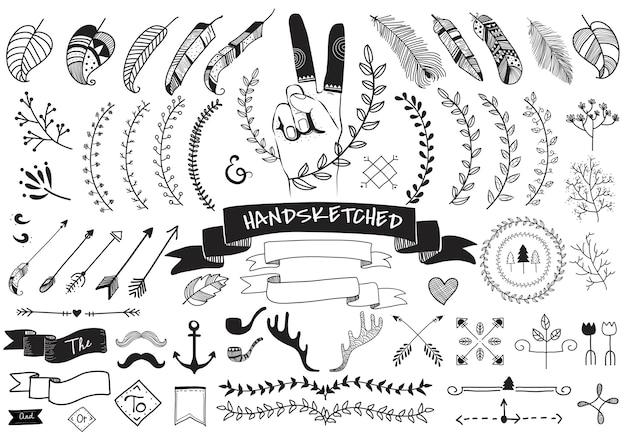 Sammlungssatz der hand skizzierte aufkleberverzierung