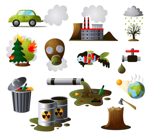 Sammlungssatz der industriellen verschmutzung. verschmutzte umwelt, luftverschmutzung in der fabrik, umweltfolgen menschlicher aktivitäten.