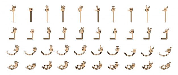 Sammlungssatz der karikaturhand mit fünf fingern. hand und arm in getrennten gruppen.