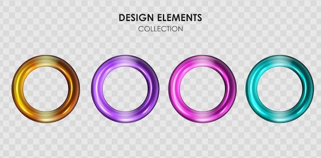 Sammlungssatz der realistischen geometrischen formen des metallischen farbverlaufs des 3d-renderings Premium Vektoren