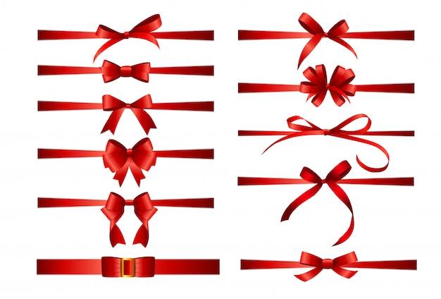 Sammlungssatz der roten schleifen mit dem horizontalen band lokalisiert auf weißem hintergrund.