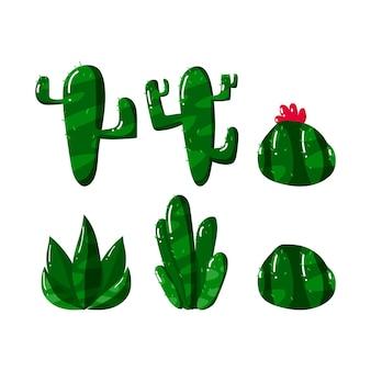 Sammlungssatz des kaktus im flachen handgezeichneten stil