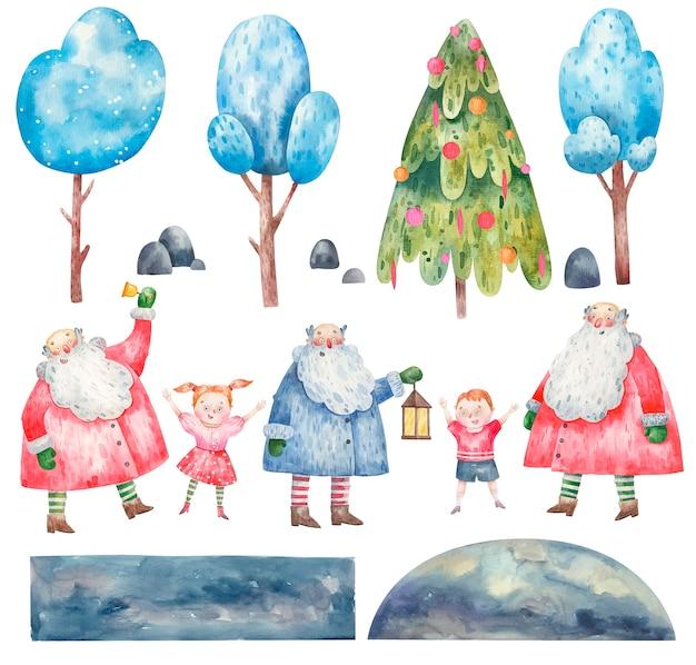 Sammlungssatz des niedlichen neujahrs-weihnachtsmanns, kinder, bäume für das erstellen von karten, aquarellillustration