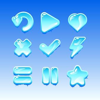 Sammlungssatz des spiels ui freeze ice icon zeichen für gui asset elemente
